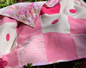 Pink Cashmere Baby Blanket Polka Dots Repurposed Recycled Felted Baby Stroller Throw