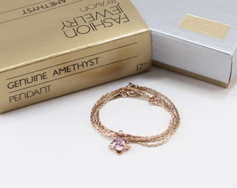 Vintage 1982 Signed Avon Genuine Amethyst Pendant Goldtone Light Purple Semi Precious Gemstone Stone Box Chain Necklace in Original Box NIB