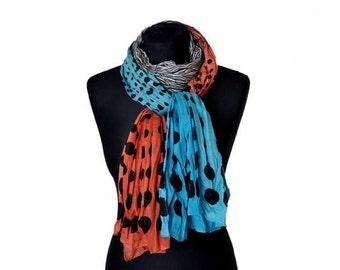 Polka-dot scarf, blue black long