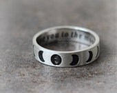 Personalized Moon Phases Ring in sterling silver / initials, date, words