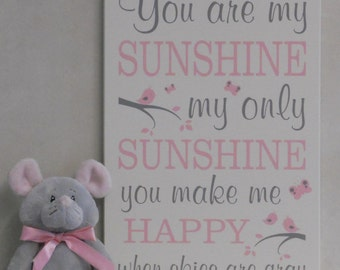 You Are My Sunshine Wall Art, Lullaby Nursery Decor, Song Rhyme Quote Artwork Light Pink / Gray Sunshine Wall Quote Nursery Song, Kids Decor