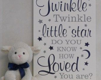 Twinkle Twinkle Little Star Do You Know How Loved You Are | Sign Nursery Decor | Baby Boy Nursery | Baby Shower Gift | Navy and Gray