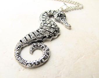 Seahorse Necklace, Sea Horse Necklace, Beach Jewelry, Sealife, Beach Fashion, Ocean, Sea, Mermaid, Jeweled Sea horse, Rhinestone Seahorse