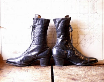 Vintage Black Leather Lace Up Granny Boots