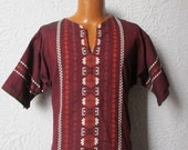 Vintage Men's Woven Tribal Embroidered Hippie Shirt sm/med.