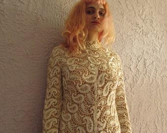60s Vintage Crochet Paisley Lace Dress Medium