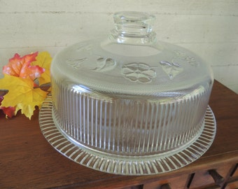 Ribbed Glass Cake Cover with Floral Design and Glass Cake Plate / Vintage Glass Cake Plate with Glass Cover / Vintage Cake Dome and Plate