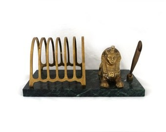 Vintage ancient Egypt souvenir sphinx brass and green marble desk set, letter holder