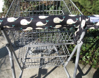 Shopping Cart Cover w/tote strap- Happy Whales Print -Grocery Cart Handle Cover - Shopping Cart Handle Cover