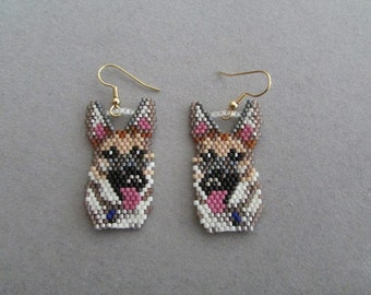 Beaded German Shepherd Earrings