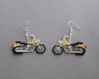 Yellow Beaded Motorcycle Earrings