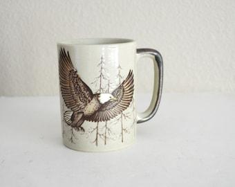 Vintage 70s 80s Eagle Bald Eagle Mug Coffee Cup - Otagiri Style