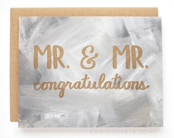 Gay Wedding Card - Mr. & Mr. Congratulations Card - Gay Engagement Card