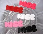 40 x 13mm Flatback KISS letter Cabochon Five Colors,5 pc