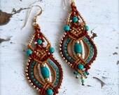 native american earrings, long dangle earrings, statement earrings, indian earrings, turquoise earrings, tribal earrings, boho earrings