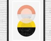 Geometric print, abstracr wall art, minimalist poster, mid century modern, watercolor art, scandinavian print, home wall decor, yellow art