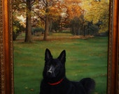 Custom Dog Portrait Reserved for Tiffany G Black Velvet: Rico