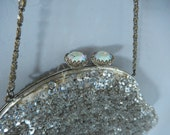 Vintage Purse - Silver Sequined Purse - Sequined & Beaded Purse - Sequined Evening Bag - 30s Evening Bag - Wedding Hand bag