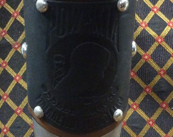POW/MIA US Military Army Navy Air Force Marines metal and leather drinking horn aluminum alloy