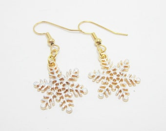Snowflake Earrings Christmas Jewelry Winter Charms White Sparkle Gold Snowflake