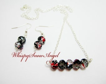 Necklace and Earring Set Rondelle Necklace Black Red Clear Rondelles Gift Set for Her Silver Plate Chain 24 Inch