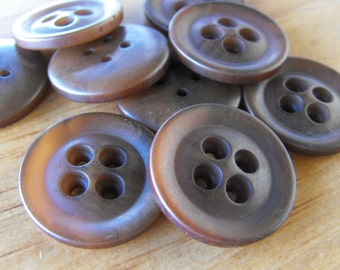 9 Chocolate Brown Top Big Hole Round Buttons Size 7/8""