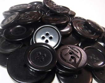 25 Black Large Buttons Assorted Round Crafting Sewing Buttons