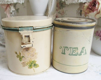 shabby chic tea tins canisters pink rose vintage kitchen (2 tins)