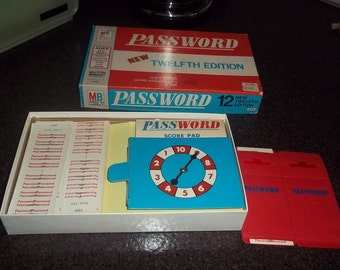 Vintage Password Game, dated 1970, by Milton Bradley