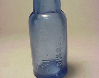 c1890s Bromo Caffeine , Cornflower Blue Cork Top Medicine Bottle