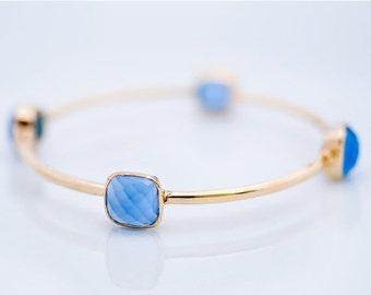 40 OFF - Bangle - Blue Chalcedony Bracelet - Gemstone Bangles - Bezel Set Bangles - Gold Bracelets
