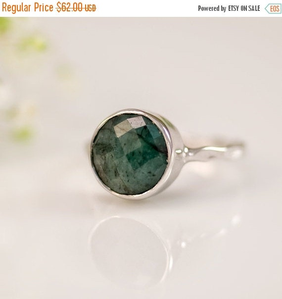 WINTER SALE - Raw Emerald Ring - May Birthstone Ring - Gemstone Ring - Stacking Ring - Sterling Silver Ring - Round Ring