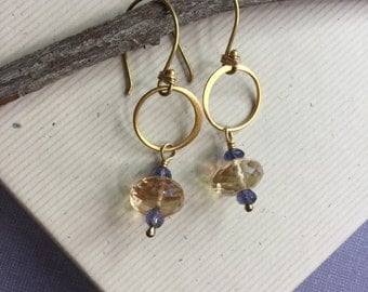 24K gold vermeil circle earrings with faceted citrine and iolite gemstone rondel - artisan jewelry, everyday jewelry, gemstone earrings E105