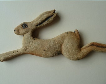 Stoneware ceramic hare sculpture wall decoration