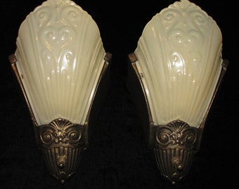 Vintage Pair Art Deco Slip Shade Wall Sconces / Virden FREE SHIPPING to the USA