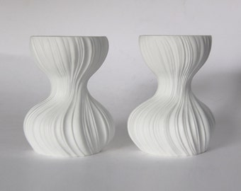 Modernist Porcelain 'Plissée'  Set of Two White Candle Holders - M. Freyer for Rosenthal 1970s