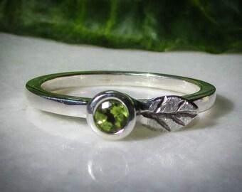 Peridot Stacking Ring, Silver Stacking Rings, Peridot Birthstone, 3.5 mm Gemstone, 2 mm Band, Silver Ring, Peridot Ring, August Birthday