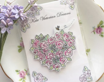 Magnet, Heart Shaped Flower Wreath with a Bee, Gift for a Gardner, Hostess Gift, Vintage Style, Attached to a Display Card and Ready to Give