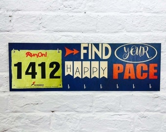 Race Medal Display Running Medal Display Holder and Race Bib Hanger - Find Your Happy Pace - running medal rack race bib- Printed on Wood
