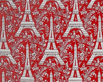 Eiffel Tower on Red cotton quilting fabric by Michael Miller