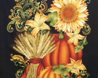 Autumn Fabric Welcome Harvest Sunflowers and Pumpkin 24in x 44in panel premium cotton fabric by Color Principle Studio for Henry Glass & Co