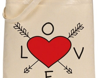 Valentine's Day Tote - Love BoHo Valentine's Day Cotton Canvas Bag - Easy Valentines Day Gift for Teachers