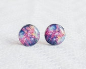 Galaxy Stud Earrings- Universe- Space- Nebula- Space Nebula Jewelry- Cosmos Earrings- nebula jewelry- Night Sky- Black- Blue- Purple