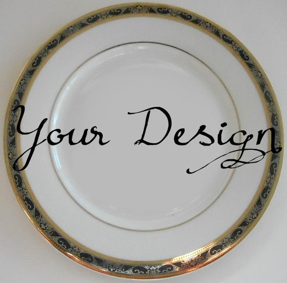 Customized Black and Gold Dishes Personalized Plates Personalized Dinnerware Customized China Porcelain & Customized Black and Gold Dishes Personalized Plates