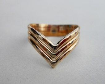 14k Gold Filled Triple Chevron V Ring Hammered