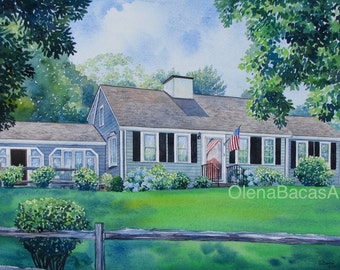 """Custom House Painting, Home Portrait 9""""x12"""" by Olena Baca-Gift Ideas-Housewarming Gift-Anniversary Gift-Wedding Parent Gift-"""