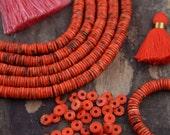 Orange Salmon Discs : Bright Orange Bone Heishi Beads, 7.5x2mm, Natural, Craft, Jewelry Making Supplies, Bohemian, Tribal, Beach, 130 + pcs