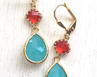Turquoise Teardrop and Red Diamond Dangle Earrings. Fashion Earrings. Red Aqua Earrings. Christmas Gift.Holiday Jewelry. Christmas Gift.