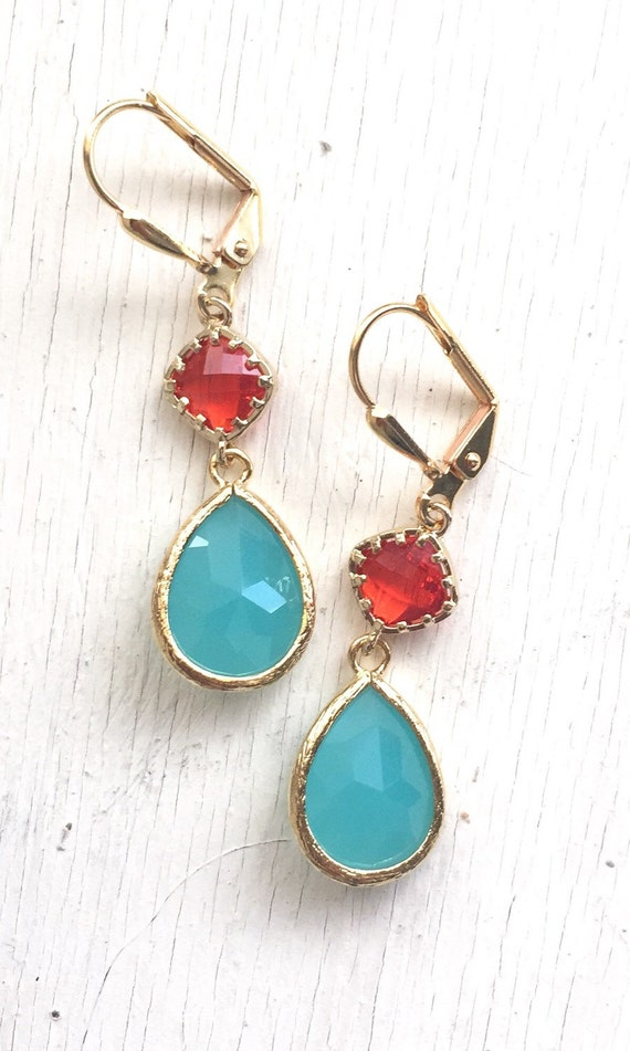 Turquoise Teardrop and Red Diamond Dangle Earrings. Fashion Earrings. Red Aqua Earrings. Christmas Gift.Holiday Jewelry. Christmas Gift.