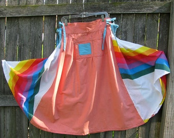 Long colorful skirt - Rainbow Sherbert - adjustable, repurposed fabrics with side ties and pockets